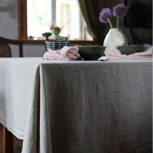 Stone Washed Oatmeal Linen Tablecloth - tableware