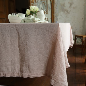 Stone Washed Rosa Linen Tablecloth - outdoor dining