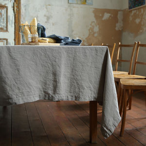 Stone Washed Taupe Linen Tablecloth - table linen