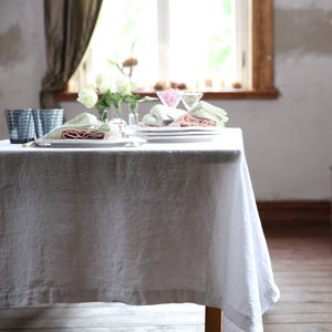 Stone Washed White Linen Tablecloth - table linen