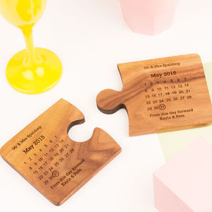 Personalised Wedding Day Coaster Set