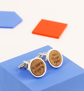 Personalised Walnut Wood And Metal Cufflinks