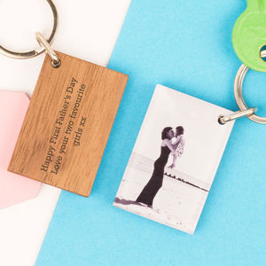 Personalised Wood And Acrylic Photo Keyring - keyrings