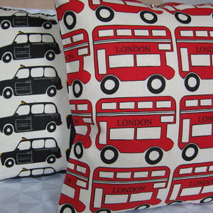 London Bus And Taxi Cushion - bedroom