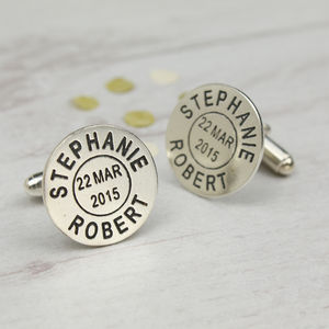 Personalised Silver Postmark Name Cufflinks - 25th anniversary: silver