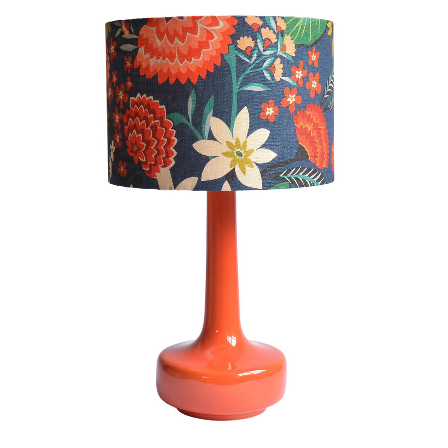 Bell Bottom Table Lamp With Carnation Floral Shade By