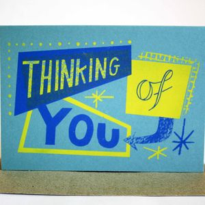 'Thinking Of You' Hand Printed Card - sympathy & sorry cards