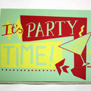 'Party Time' Hand Printed Card