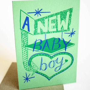'New Baby Boy' Hand Printed Card