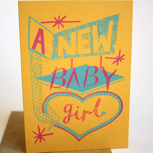 'New Baby Girl' Hand Printed Card