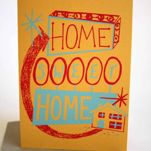 'Home Sweet Home' Hand Printed Card - new home cards