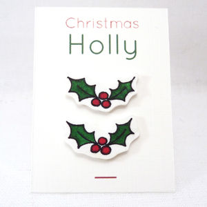 Christmas Holly Stud Earrings