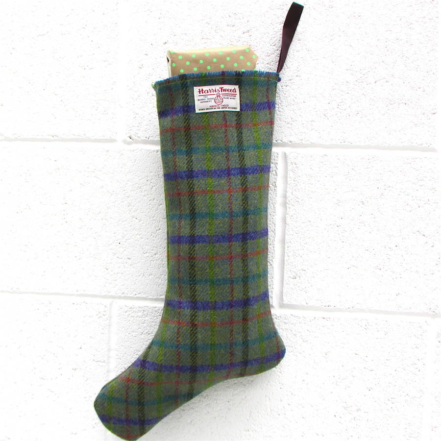 Harris Tweed Handmade Christmas Stocking By Edamay