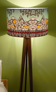 'The Alps' Geometric Designer Drum Lampshade - office & study