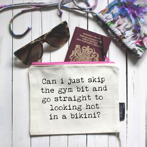 'Skip The Gym' Pouch - make-up & wash bags