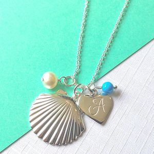 Shell Pendant Necklace With Initials And Birthstones