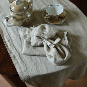 Stone Washed Oatmeal Linen Table Runner - dining room