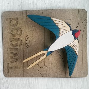 Wooden Swallow Brooch - pins & brooches