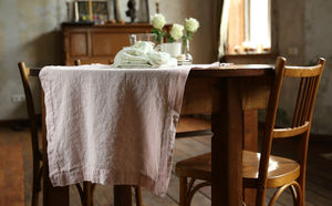 Stone Washed Rosa Linen Table Runner - spring table