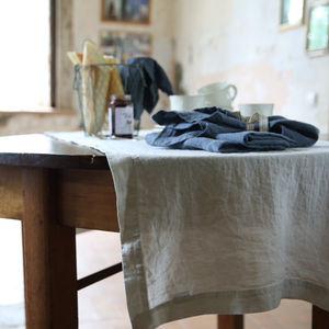 Stone Washed Silver Linen Table Runner - dining room