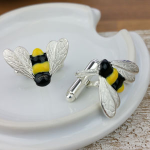 Bumble Bee Cufflinks In Silver