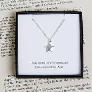 Personalised Teacher Silver Star Necklace - necklaces & pendants