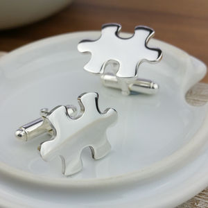Personalised Sterling Silver Jigsaw Cufflinks - cufflinks