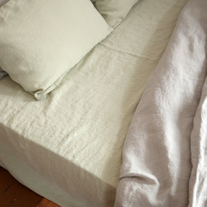 Stone Washed Pure Linen Fitted Sheet - bedroom