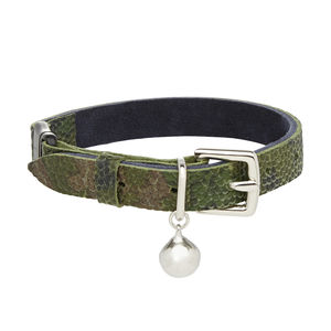 Camouflage Leather Cat Collar With Safety Catch