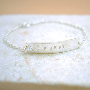 Personalised New Baby Christening Silver Bracelet