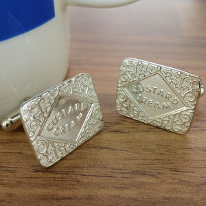 Silver Custard Cream Cufflinks - cufflinks