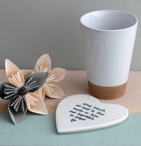 'Good Friends' Porcelain Coaster - tableware