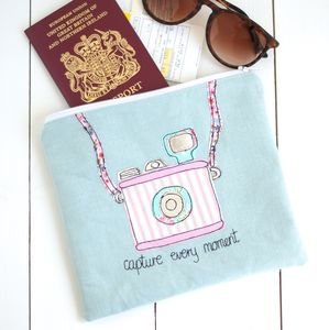 'Capture Every Moment' Personalised Travel Bag - passport & travel card holders
