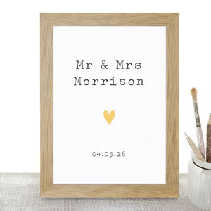 'Mr And Mrs' Personalised Wedding Print - room decorations