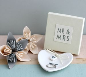 'Mr And Mrs' Ceramic Ring Dish - jewellery storage & trinket boxes