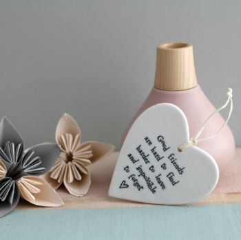 'Good Friends' Hanging Ceramic Heart
