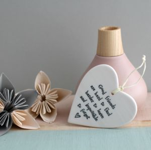 'Good Friends' Hanging Ceramic Heart - wedding favours