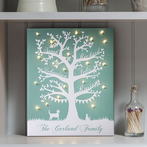Illuminated Family Tree Canvas - decorative lighting