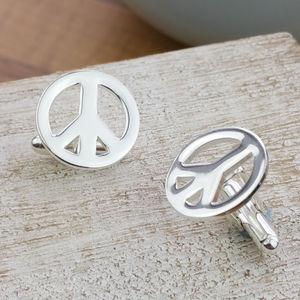 Silver Campaign For Nuclear Disarmament Peace Cufflinks - cufflinks