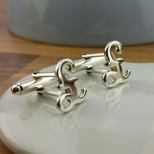 Sterling Silver Pound Sign Cufflinks - men's accessories