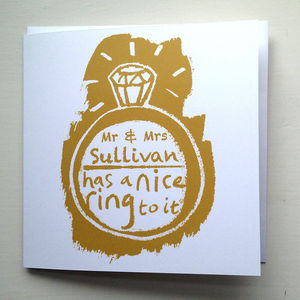 'Nice Ring' Personalised Engagement Card - wedding cards & wrap