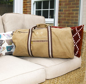 Personalised Vintage Canvas Holdall - holdalls & weekend bags