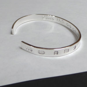 Mens Silver Engraved Bangle