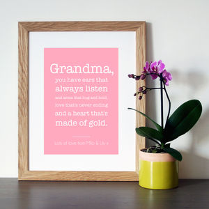 Personalised Nana/Grandma/Nanny Quote Print - gifts for grandparents