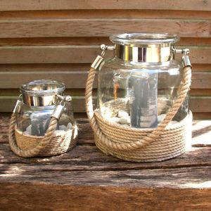Rope Wrapped Salcombe Lantern - lights & lanterns