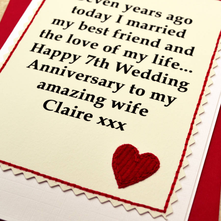 7th Wedding Anniversary Gifts: Personalised 7th Wedding Anniversary Card By Jenny Arnott