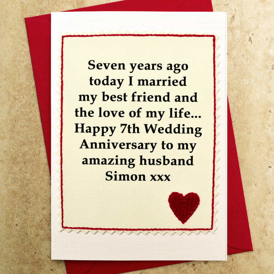 Wedding Anniversary Ideas For Your Husband : 7th Wedding Anniversary Card - Personalised for your Husband or Wife