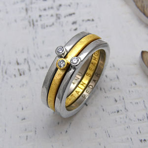 Personalised Yellow And White Gold Stacking Ring - stack and style