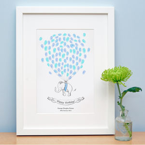 Baby Elephant Fingerprint Artwork - christening gifts