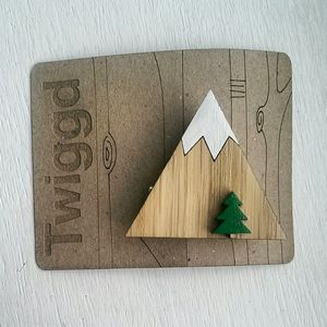 Wooden Mountain Brooch - pins & brooches